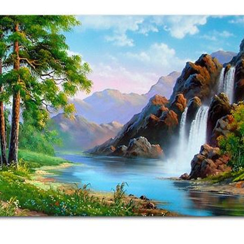 Spring Natural Scene Waterfall DIY Handpainted Pictures On Canvas Painting By Nu
