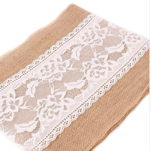 3pcs 12x108 Inch Burlap Lace Table Runner Fall Thanksgiving Christmas Country Ru
