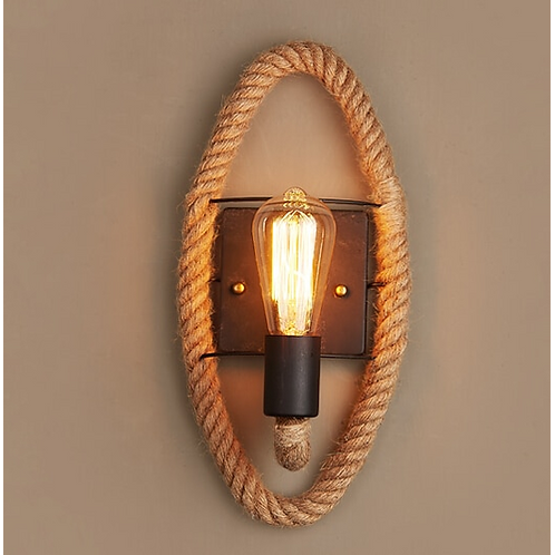 Retro Vintage Fixtures Loft Industrial hemp rope wall lamp Edison Wall Sconce