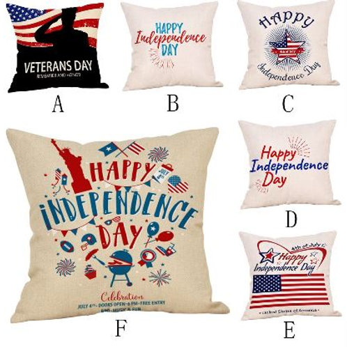 ISHOWTIENDA Happy Independence Day Pillow Cases Sofa Cushion Cover Home Decor ha