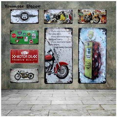 Retro Motor Oil Motorcycle Car License Plate Route US 66 Motel Vintage Tin Signs