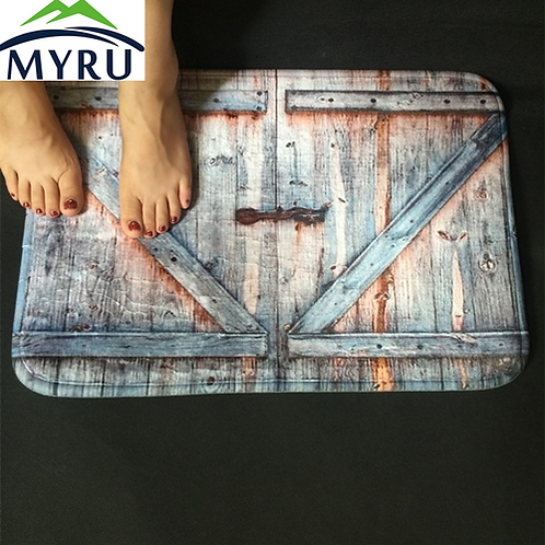 MYRU Country Style Polyester Shower Curtain Carpet Bath Mat Old Bronze Wooden