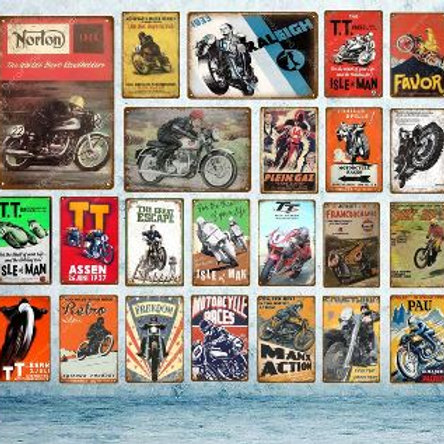 TT Isle Of Man Metal Poster Retro Motorcycle Races Plaque Wall Art Painting Plat