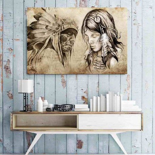 Sketch Art Retro Painting Canvas Wall Art Printed Indian Girl Chief Portrait Pos