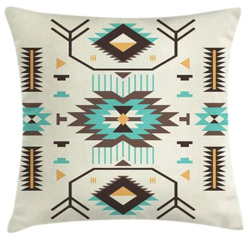 Southwestern Throw Pillow Cover Ethnic Pattern Design from Ancient Zigzag Motifs
