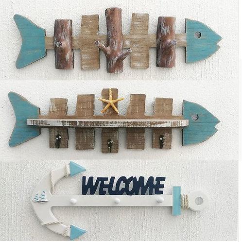 Porch Wood Wall Hanging Decorative Hook Coat Cap Hanging Key hooks Hanging Fish