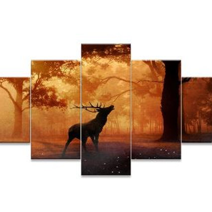 Painting Giclee Prints Deer In Autumn Forest Wildlife Pictures Animal Elk Poster