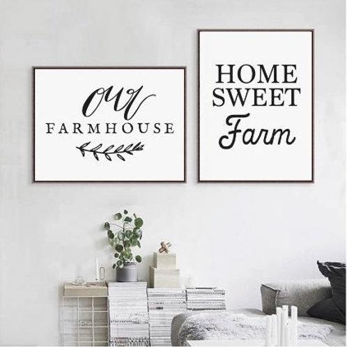 Home Sweet Farm Calligraphy Canvas Art Print , Our Farmhouse Art Print Canvas Pa