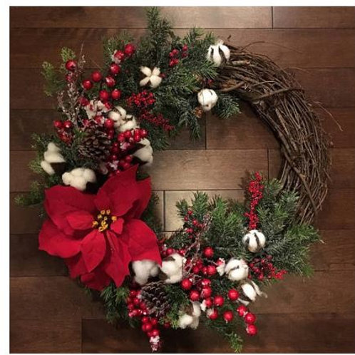 30cm Christmas Wreath Door Hanging Artificial Plant Rattan Circle Wall Decoratio