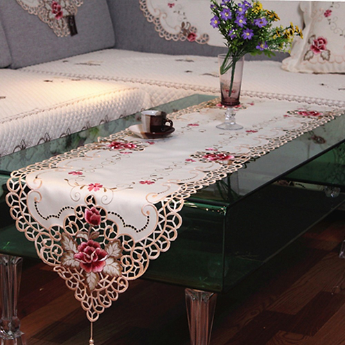 RAYUAN Embroidered Peony Satin Fabric Cutwork Table Runner Dresser Scarf Home