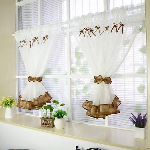 2pcs ZHH White Roman Curtain Tulle hot sell Coffee Curtain Kitchen Short Curtain