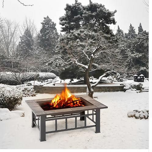 Metal Garden Backyard Fire Pit Patio Rectangular Firepit Stove Brazier Outdoor F