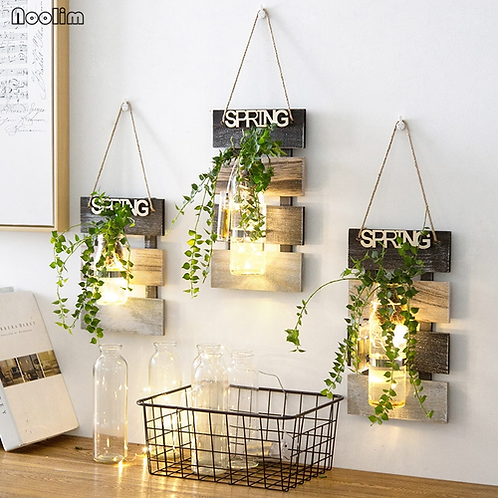 NOOLIM Pastoral Decoration Hydroponic Plant Glass Vase Living Room Wall Hanging