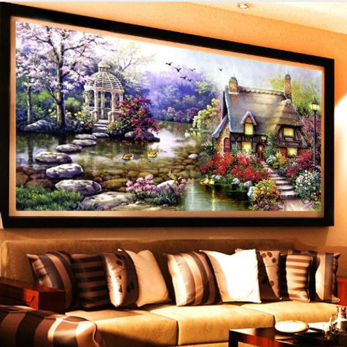 New Garden 5D Diy Diamond Painting Cross Stitch Lake House Scenery Diamond embro