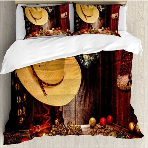 Western Duvet Cover Set Farmhouse with Christmas Celebrations with Wreath Americ