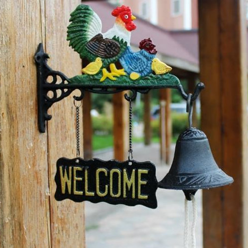 Chicken Family Welcome Dinner Bell Cast Iron Door Bell Chime Farm Ranch Country