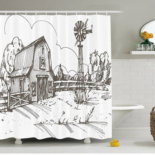 Windmill Decor Shower Curtain Rustic Barn Farmhouse Hand Drawn Illustration Coun