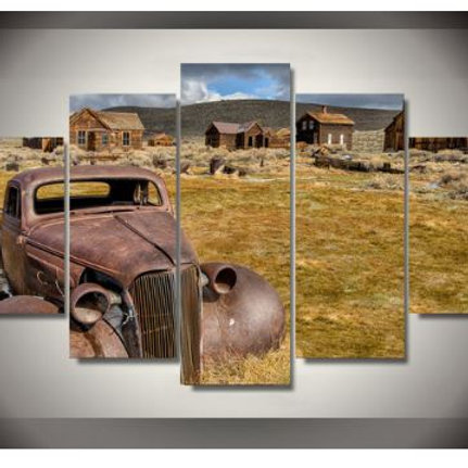 Limited Ranch Abandoned Car 5 Pcs Spray Painting Wall Art Canvas Print Room Deco