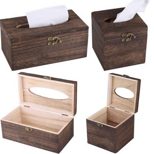2019 New Wooden Retro Tissue Box Paper Napkin Cover Holder Case Home Car Decor 1