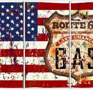 3 Piece Wall Art Painting American Flag In Red White And Blue Picture Print On C