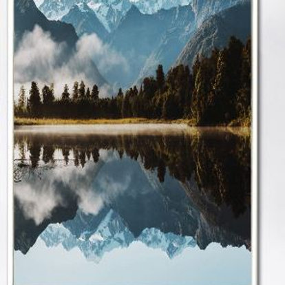 Mountain Lake Reflection Forest Wall Art Canvas Painting Nordic Posters And Prin