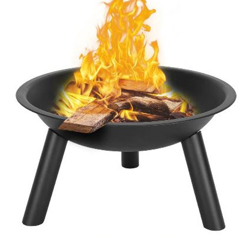 "22"" Portable Brazier Fireplace Burner Iron Fire Pit Fire Bowl with Sturdy Stand"
