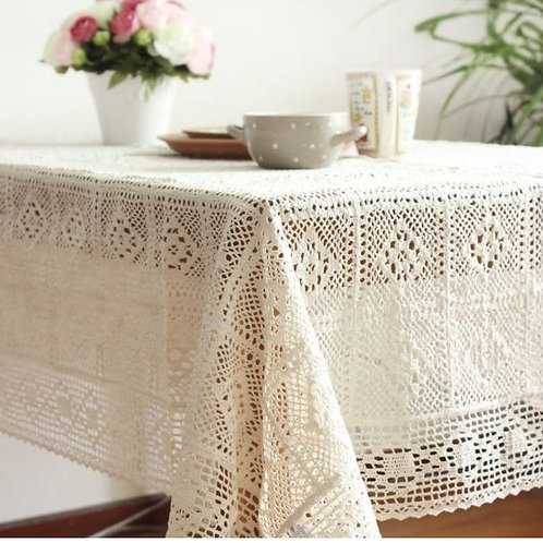 cotton linen knitted table cloth crocheted flower table covers for tables dining