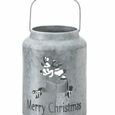 Galvanized Reindeer LED Candle Lantern