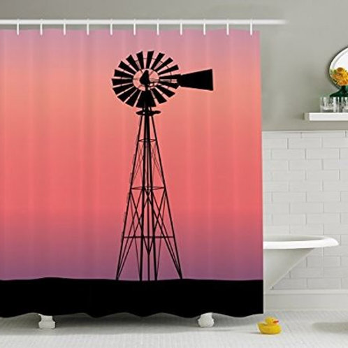 Vixm Windmill Decor Shower Curtain Windmill Silhouette at Dreamlike Sunset Weste