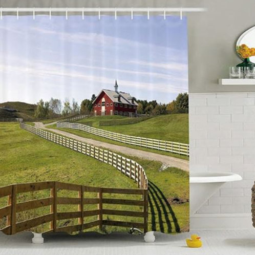 Farm House Decor Shower Curtain Long Photo of Flowing Fence of Country House in