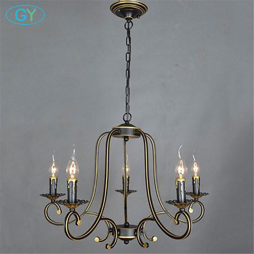 European vintage wrought iron pendant lights candle lustres minimalist dining