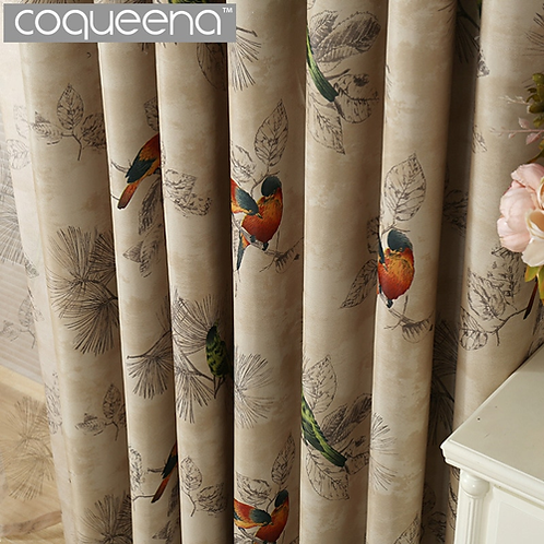 Vintage Birds Print Country Curtains for Living Room Bedroom Decorative Kitchen