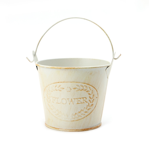 Creative Vintage Galvanised Metal Iron Flower Shabby Vase Pot Barrel Planter