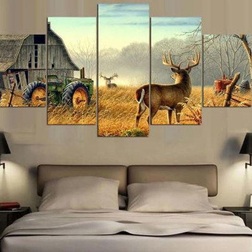 5 piece canvas Animal Whitetail Deers On Farm wood house Tractor Canvas picture