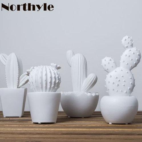 Cute white ceramic cactus decoration xmas figurines porcelain miniature art craf