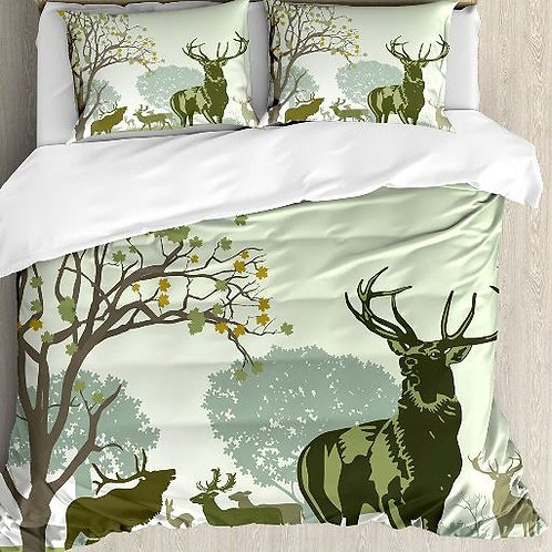 Antlers Decor Duvet Cover Set Deer and Wildlife in park World Natural Heritage F