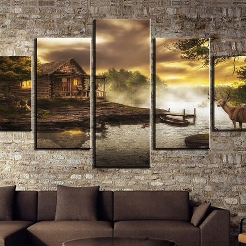 Modern Wall Art 5 Pieces HD Printed Cabin By The Framed Lake Painting Canvas Wal