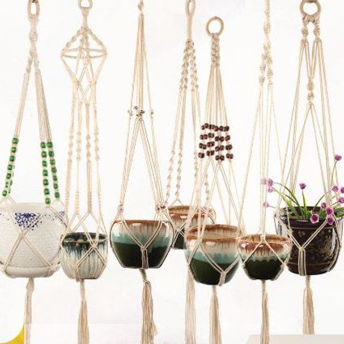 Macrame Plant Hanger Cotton Rope Indoor Outdoor Hanging Planter Basket Net Pocke