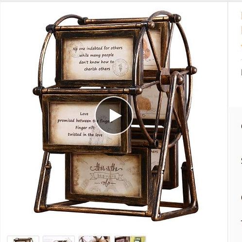 Rotating Ferris Wheel Twelve 3.9 x 5 In Picture Frame Vintage DIY Keepsake Windm