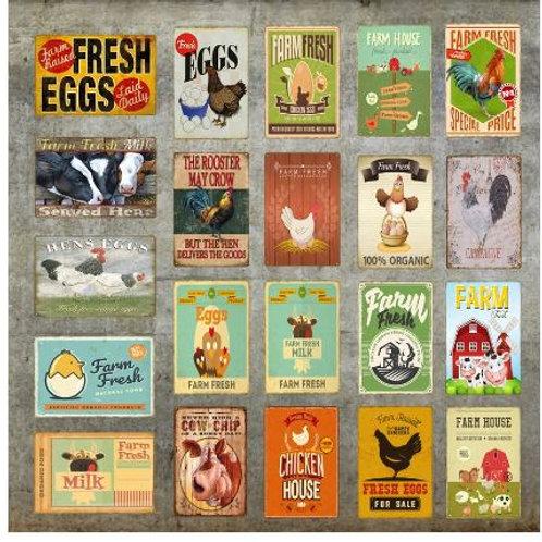 Farm Fresh Milk Metal Poster Hens Eggs Chicken House Cow Chip Farm Picture Tin S