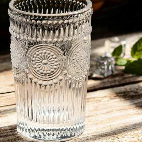 Class Cups Clear Color Fancy Embossed Glass Cups Sunflower Pattern Juice Wine Mi