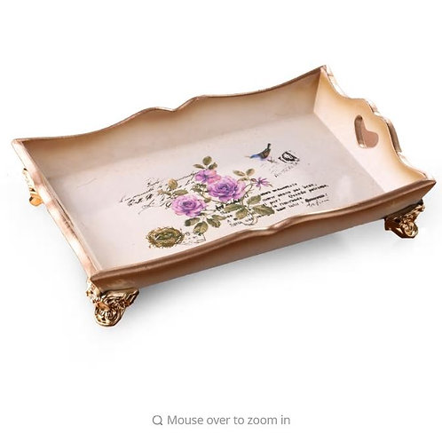 Vintage Wooden Tray Farmhouse Style Wedding Decoration Jewelry Display Dish Cosm