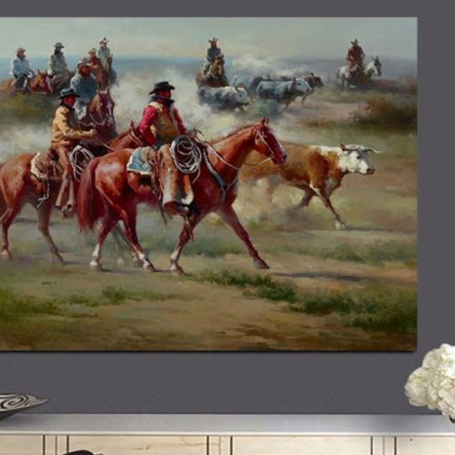 Cowboy Knight Herding the Cows Oil Painting HD Print on Canvas Pastoral Wall Pai
