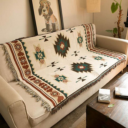 Geometry Cotton Woven Throw Blanket Rug Aztec Navajo Towel Mat Wall Hanging Tape