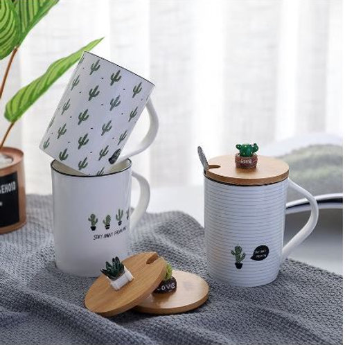 Creative Country Style Cactus Ceramic Cups Plants Wooden Covers Spoons Cups Stud