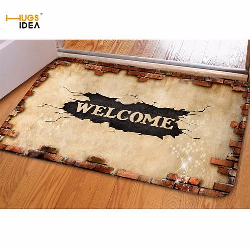 HUGSIDEA 3D Welcome Front Door Floor Home Carpet Antiskid Bathroom Tapetes Area