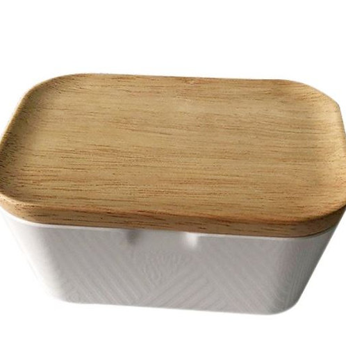 Butter Dish Butter Box Container With Wooden Cover Home Tool Useful, Home Storag