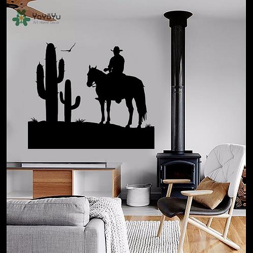 YOYOYU Wall Decal Vinyl Art Home Decor Wall Decal Cowboy Wild West Cactus Boy