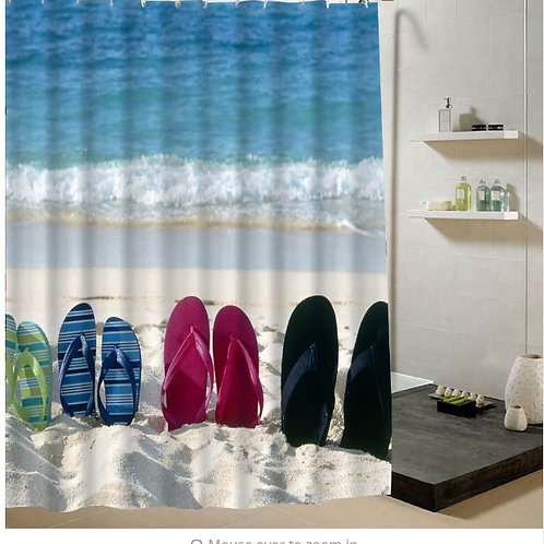 Summer Beach Shower Curtain Beige Fabric Polyester 3d Bathroom Curtain Decoratio