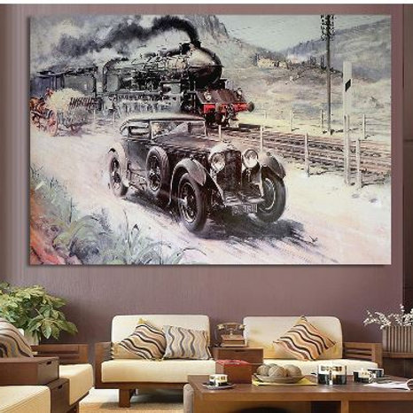 London Industrial Revolution Vehicle Train Car Poster Vintage Wall Art Retro Dec
